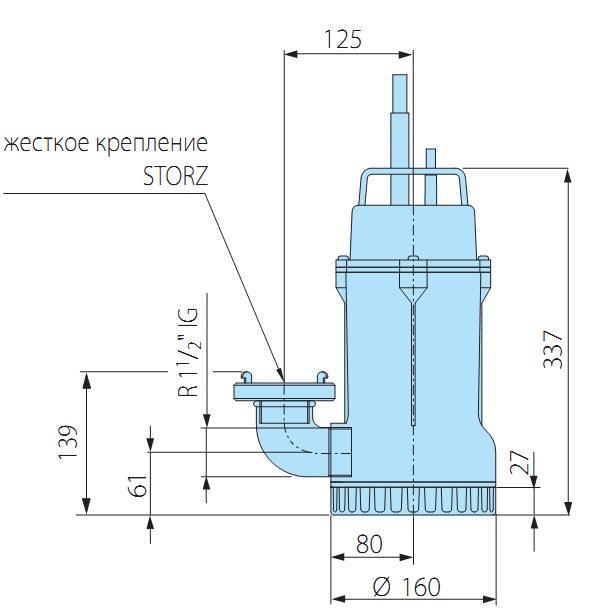 Погружной дренажный глубина погружения 6 м качает 6 куб м/час мощность 800 вт только для чистой воды вертикальная